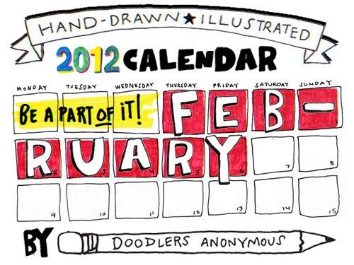 Calendar February Doodle