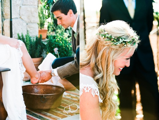 Groom Washing Brides Feet