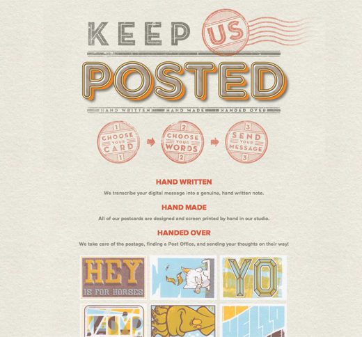 Keep us Posted   Handwritten, Handmade Postcard