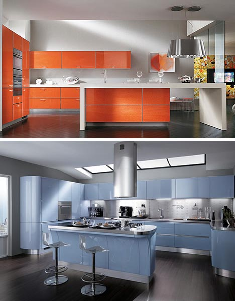 Monochromatic Orange Blue Kitchens