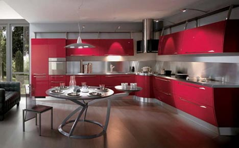 Monochrome red Painted Kitchen