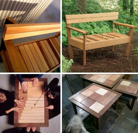Musical Wooden Benches Tables