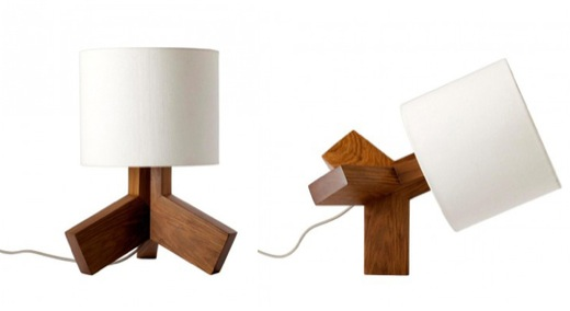 Solid Walnut Table Lamp can Stand on one leg Rook by Bludot 5