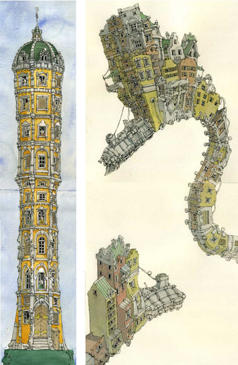 Watercolored Architecture Train Tower